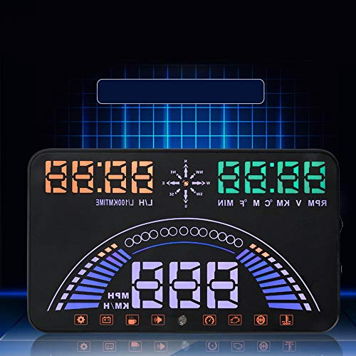 GUODLIN Creativity Car Accessory, Innovative HUD Head Up Display for All Vehicles -Multi-purpose Car HD Speed Projector Heads Up Display OBD with Mileage Measurement, High temperature Alarm, Overspeed