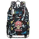 ZZGOO-LL One Piece Monkey·D·Luffy/Tony Tony Chopper Mochila Mochila Casual Impermeable Viaje de Negocios con USB Unisex-B