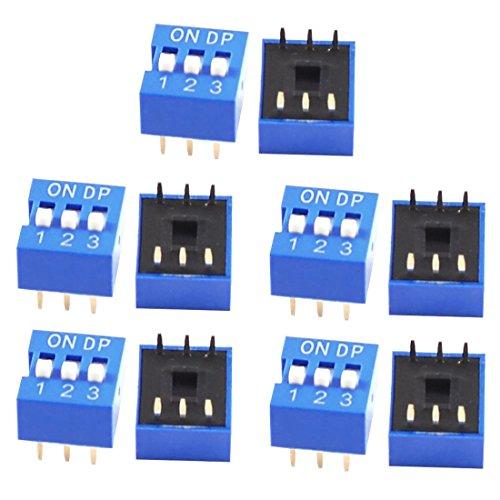 Casinlog 10 unidades azul doble línea 6 pines 3 posiciones 2,54 mm interruptor DIP
