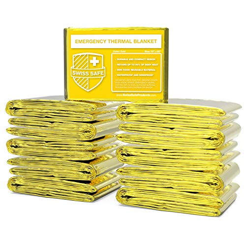 Emergency Mylar Thermal Blankets (Bulk 10pk, 25pk) - Designed for NASA, Outdoors, Hiking, Survival, Marathons or First Aid (Gold Color)