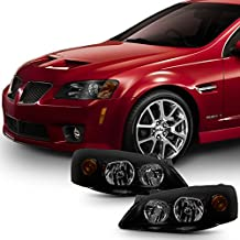 For [Black Smoke] 2005 2006 2007 2008 2009 2010 Pontiac G6 Left + Right Side Headlights Replacement Set