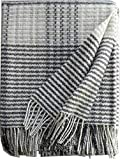 Plaids & Co Silkeborg - Manta (lana merino, 140 x 200 cm, con flecos), diseño de cuadros, color crema y gris