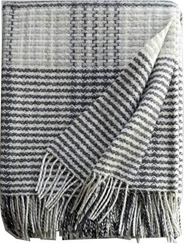 Plaids & Co Coperta in lana merino leggera, a quadri, 140 x 200 cm, con frange (crema grigio a quadri)