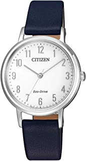 Citizen Women's Solar Powered Wrist watch, Leather Strap analog Display and Leather Strap, EM0571-16A