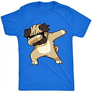 8TN Dabbing Pug Unisex-Children T Shirt - Blue - S (7-8 Years)