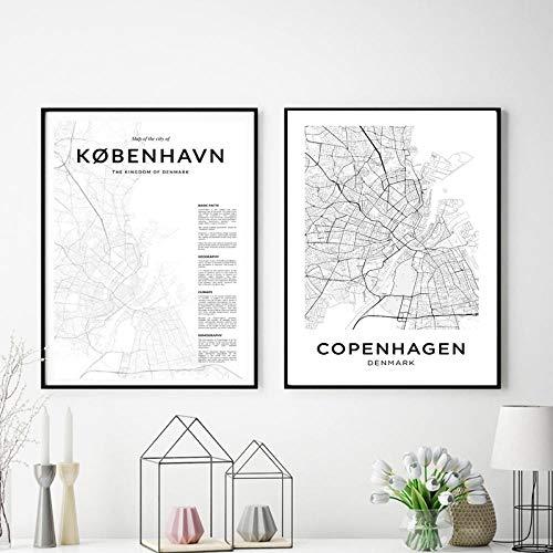 SNUMDQW Stadt Leinwand Gemälde Kopenhagen Stadtplan Poster Moderne nordische Drucke Wandkunst Bilder für Wohnzimmer-40x50cmx2p ohne Rahmen