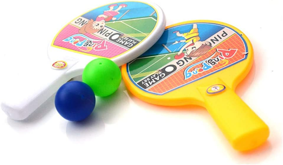 Light Sports Equipment Racket Ball Indoor Sports Game Toy for Parent-Child Interaction AkoMatial 2Pcs Mini Portable Cartoon Table Tennis