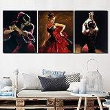zuomo Arte de la Lona Bailarina de Flamenco española Pinturas al óleo Mujer Hermosa Bailando en Vestido Rojo Impresión de Arte para decoración de Pared 50x70cm Sin Marco