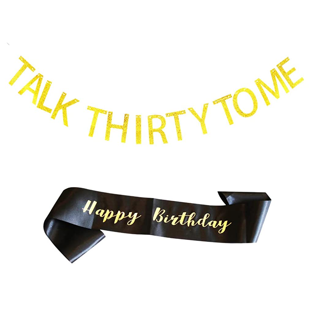 Talk Thirty to Me Banner and Happy Birthday Sash Black Satin with Gold Glitter Letters/Happy Birthday, for 30th Birthday Party Décor