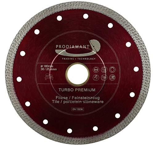 PRODIAMANT Premium Diamanttrennscheibe Fliese Feinsteinzeug 180 mm x 30 mit Ring 25,4 mm Diamanttrennscheibe 180mm Fliesenscheibe für Tischmaschinen