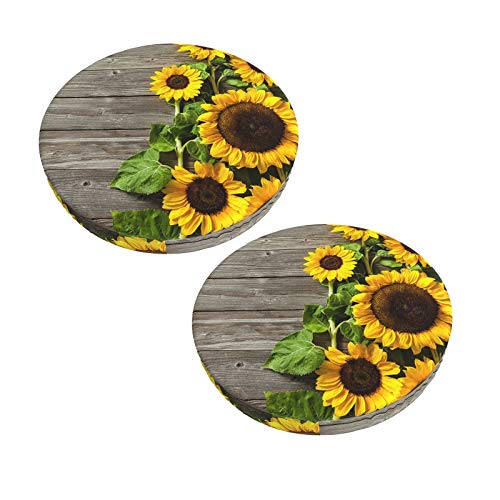 Sunflowers On Wooden Board Round Bar Stool Cover Cushion,2 Pack Super Soft Velvet Anti-Slip Padded Covers for Wooden Metal Stools Animals