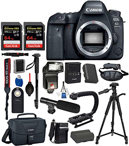 Canon EOS 6D Mark ii Full Frame DSLR Camera Body Only USA (Black) 19PC Professional Accessory Bundle Package Deal – Includes SanDisk Extreme Pro 64gb SD Card + Extended Battery (LP-E6) + More