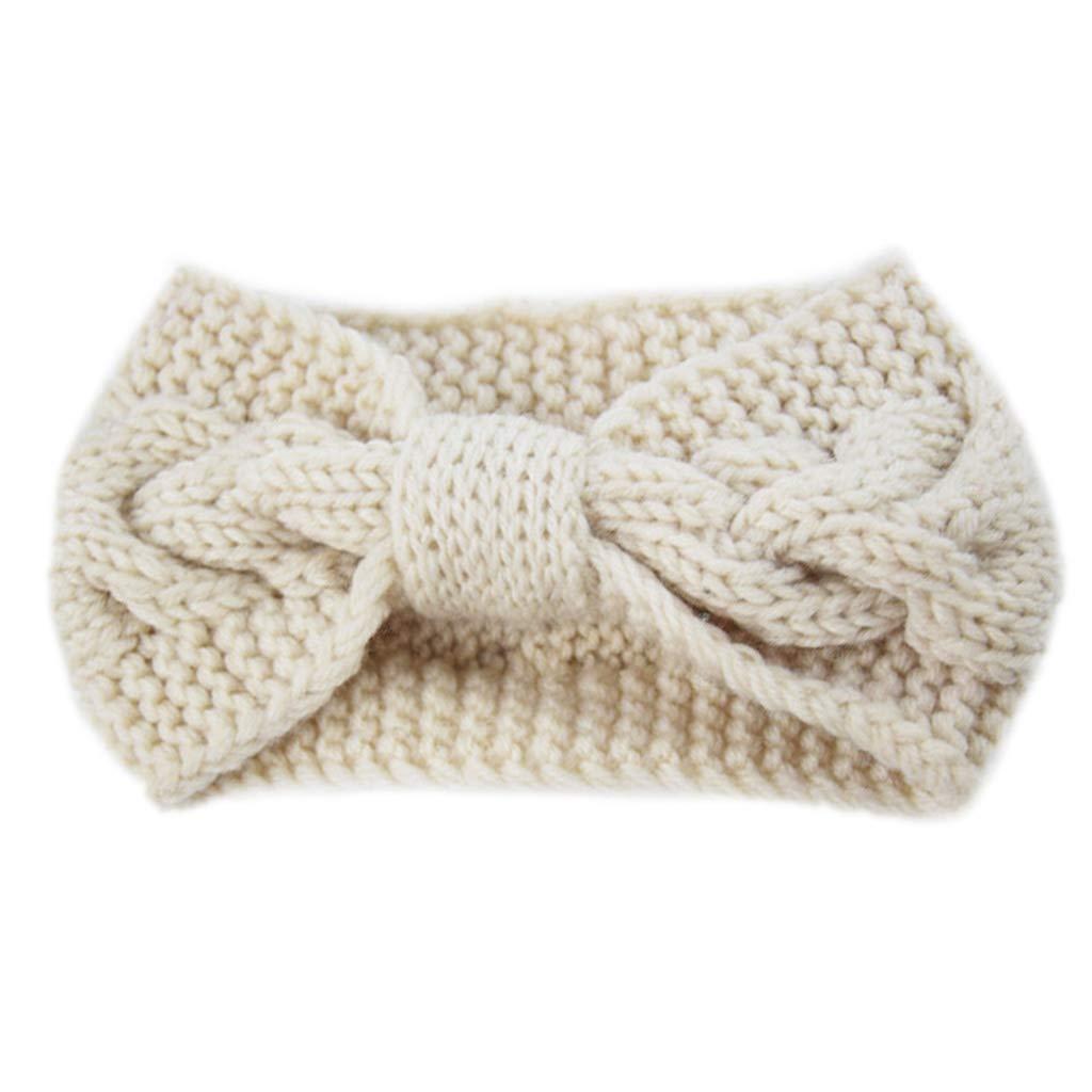 Simdoc Womens Chunky Cable Knitted Turban Headbands Twisted Head Wrap Bowknot Hair Band Warm Winter Ear Warmer,22x12cm