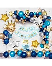 Födelsedagsdekoration blå guldballonger, kronfolie ballonger, marinblå latexballonger, blå guld silver metalliska ballonger, guldkonfetti ballonger, stjärnfolie ballonger, HAPPY BIRTHDAY banderoll tårtdekoration