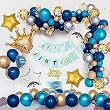 APERIL Palloncini in Oro Blu Decorazioni di Compleanno, Palloncini in stagnola a Corona, Palloncini in Lattice Blu Navy, Palloncini Metallici in Argento Blu Oro, Palloncini in coriandoli Dorati