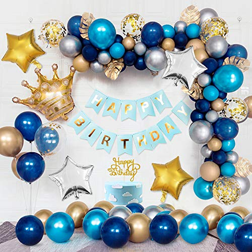Blau Luftballons Geburtstagsdekoration, Kronenfolienballons, Marineblaue Latexballons, Blaugold-Silbermetallic-Ballons, Goldkonfetti-Ballons, Sternfolienballons, HAPPY BIRTHDAY Banner Cake Topper