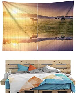 HuaWuChou Horse Valley with Lake Tapestry Art Print, Wall Art Decoration Window Curtain Picnic Mat, 59W x 51.1L Inches