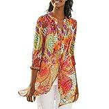 Lazzboy Donna Plus Size T-Shirt Top Chiffon Etnico Fiore Fiore Stampare Beach Style Vintage Daily Largo Bluse(L(44),Arancione)