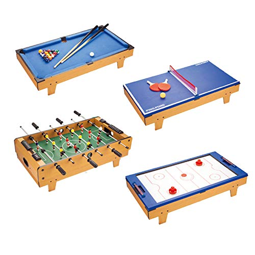 FXQIN 4 in 1 Multigame Spieletisch inkl. komplettem Zubehör, Spieltisch mit Kickertisch, Billardtisch, Tischtennis, Hockey Table Wooden Play Table Soccer Table für Kinder Erwachsene