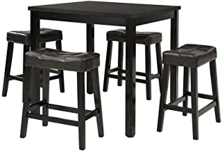 Thaweesuk Shop New Black Small Dining Counter Ht Table Kitchen Breakfast Nook Wood Square Desk Furniture Metal and Plate 23.6
