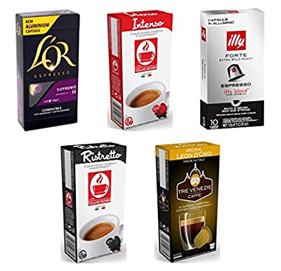 Nespresso Compatible Coffee Capsules - 50 Intense Multi Brand Variety Pack: L'Or, Illy, Bonini, TRE Venezie (Pack of 5, 50 Pods in Total)