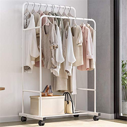 Lshbwsoif Perchero de ropa rack de ropa Perchero de doble barra de metal barra de secado estante de la rueda del estante de la ropa 63