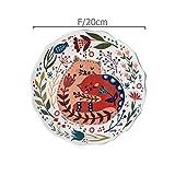 N/A 8 Pulgadas Plato de Cena de Gato Colorido Platos de cerámica de cerámica esmaltados Bandeja de Postre Kitty de Flores Vajilla Apto para microondas, F