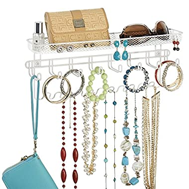 mDesign Decorative Metal Closet Wall Mount Jewelry Accessory Organizer for Storage of Necklaces, Bracelets, Rings, Earrings, Sunglasses, Wallets - 8 Large Hooks/11 Small Hooks/1 Basket, White