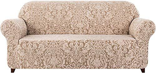 subrtex Damast Sofabezug Stretch Sofahusse Couchbezug Sesselbezug Elastischer Blumenmuster Antirutsch Stretchhusse für Sofa (3 Sitzer, Beige Braun)