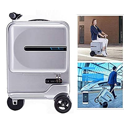 Zdcdy Electric Luggage Scooter, Smart Riding Scooter Suitcase, Foldable Suitcase Electric Luggage with Removable Power Bank Battery, for School Airport Business, Loading 100kg,Silver-B