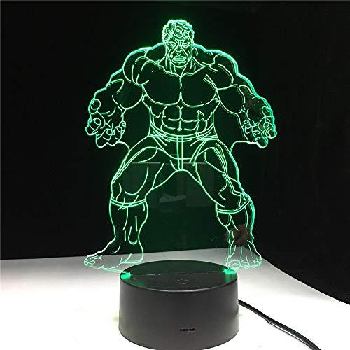 Hollywood Comics Película Superhéroe Músculo Fuerte Hombre Verde 3D LED Acrílico Luz de noche Ventiladores para niños Dormitorio Oficina Lámpara de mesa USB Regalo para niños Decoración para el h