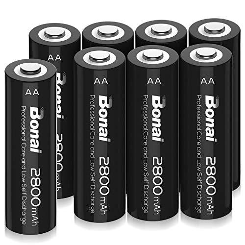 BONAI Akku AA 2800mAh Wiederaufladbare Batterien hohe Kapazität 1,2V AA NI-MH Aufladbare Akkubatterien geringe Selbstentladung (8 Stück)