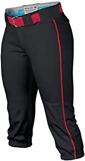 EASTON PRO Fastpitch Softball Pant | Womens | Small | Black / Red Piped | 2020 | Sewn Down Set In Back Pockets | Pro Style...