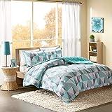 Intelligent Design Ellie Comforter Set Full/Queen Size - Aqua, Grey, Geometric...