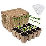 FJY 12 PCS Semillas Starter Potes Potes Premium Biodegradable y Germinación Orgánica Bandejas de plántulas Kit para Plantas de Interior para Exteriores con 30 Etiquetas de Plantas de plástico