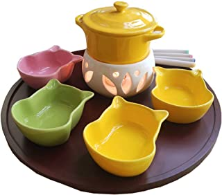 Ceramic Melting Pot with 4 Forks 4 Bowls Cheese Chocolate Fondue Chocolate Fountains without Candle for Home Kitchen Hotel...