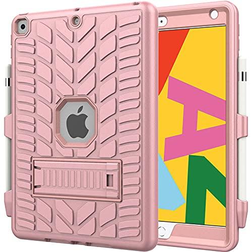 HHF Pad Accesorios para iPad 10.2 2019, patrón de neumáticos Ordenador Personal Funda Protectora del Titular de Silicona Anti-caída y Tableta a Prueba de Golpes para iPad 10.2 2019 (Color : Pink)