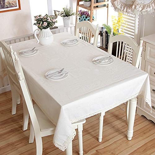"""Enova Home Natural Elegant Rectangular Solid Thicken Cotton and Linen Tablecloth Dust Proof Table Cover for Kitchen Dinning Tabletop Decoration (Pure White, 54""""x 80"""")"""