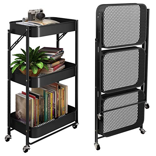 SAYZH 3 Tier Foldable Metal Rolling Storage Utility or Kitchen Cart with Wheels - Black