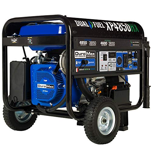 Dual Fuel Portable Generator-4850 Watt Gas or Propane Powered Electric Start w/CO Alert, 50 State Approved, Blue - DuroMax XP4850HX