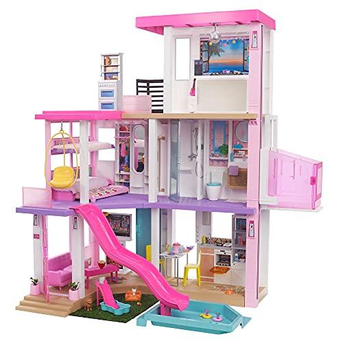 Barbie- Casa dei Sogni per Bambole con 10 Aree di Gioco Come Una Stanza per Le Feste, più di 75 Accessori, Luci Regolabili, Musiche e Suoni, Multicolore, GRG93