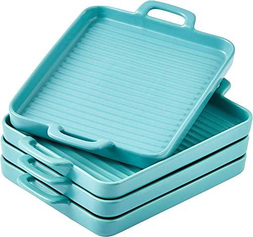 Ceramic Square Baking Dish Grill Pan Dinner Plates 10″x7″ Set of 4 Blue Baking provides Baking set Bakeware units Kitchen necessities Baking pans set Baking instruments Cake Kitchen provides