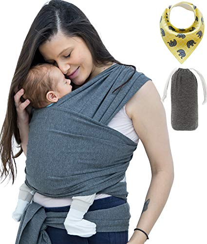 StrollerTrotter Baby Wrap Carrier Sling - Soft and Stretchy Infant to Toddler Size, with Pouch and bib