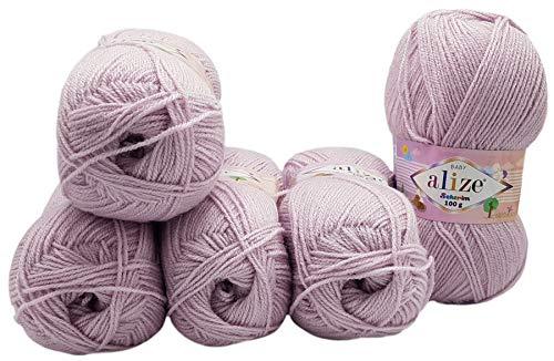 5 ovillos de lana para tejer Alize Sekerim Bebe, 500 g, color...