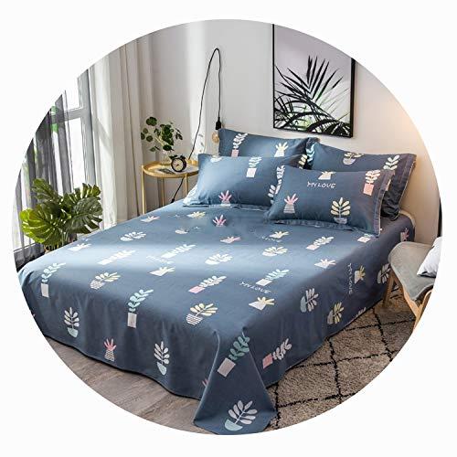 Qianqian Paper Crane Floral Birds Bed Sheet 100% Cotton Mattress Cover Flat Sheet 1pcs Soft Bedclothes Twin Full Queen King Size,Deep Blue,200x230cm Sheet 1Pc