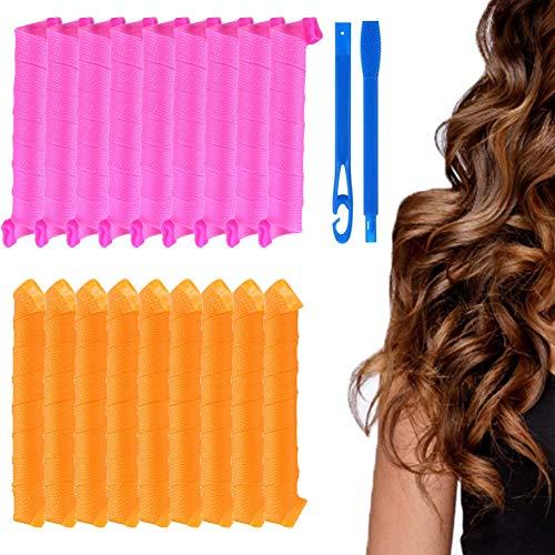 18 Piezas Kit de Rulos de Peinado, Rulos Ondulados para el Cabello,Rizos en Espiral Rizadores de Pelo, Herramientas de Peinado de Bricolaje para Mujeres, 40cm