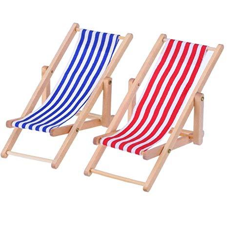 Miniatur Strand Stuhl, 2 Stück Hölzerner Mini Deko Liegestuhl | Puppenliegestuhl | Strandstuhl | Handyhalter | Miniliegestuhl | Klappstuhl, Blau-weißer Stoffsitz, ca.11x5cm