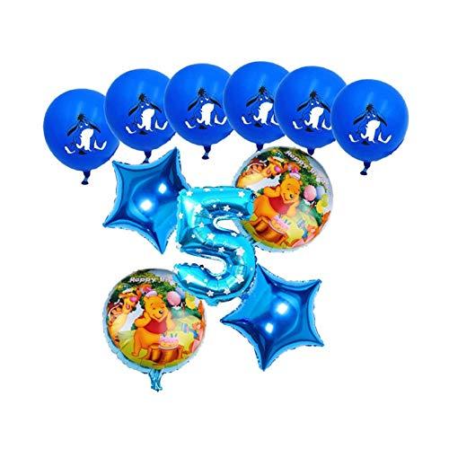 LIANGLMY Globo 11 unids Dibujos Animados Winnie The Pooh Aluminio Globos Set Fiesta de cumpleaños Decoración de Boda Suministros Baby Shower Kid Juguetes (Color : Blue-5)