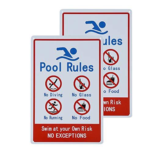 dojune - 2 Stück Schilder für private oder gewerbliche Schwimmbäder, allgemeine Handelsübliche Pool-Regeln.