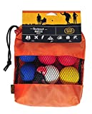 PERFECT FOR ALL AGES: This downsized portable bocce set is suitable for all ages and contains nine 1.75-inch balls. It can travel with you wherever you might like to play: campground, barbecues, even the beach. COMPACT AND CONVENIENT: Measuring 5.5 b...